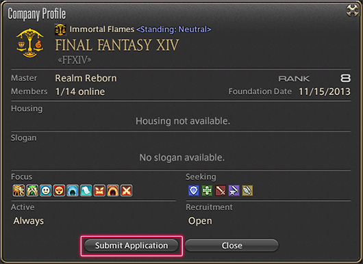 How to apply to the free company - Massively Multiplayer