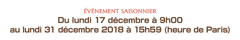Du lundi 17 décembre à 9h00 au lundi 31 décembre 2018 à 15h59 (heure de Paris)