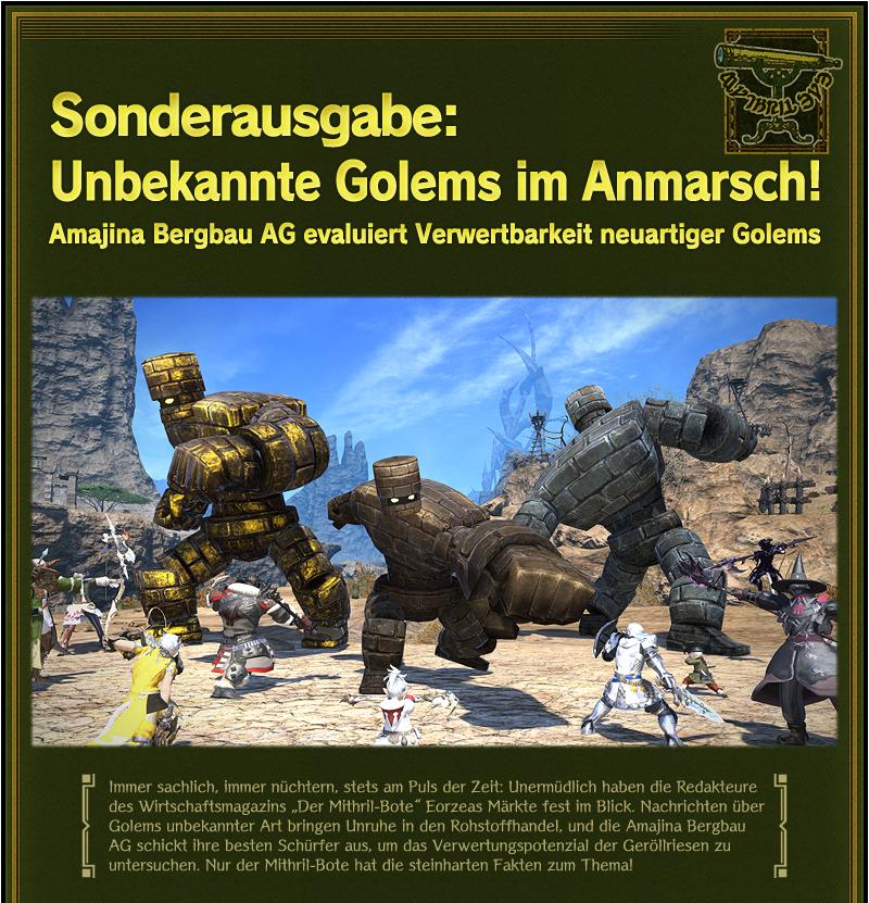 Sonderausgabe: Unbekannte Golems im Anmarsch!<br />Amajina Bergbau AG evaluiert Verwertbarkeit neuartiger Golems
