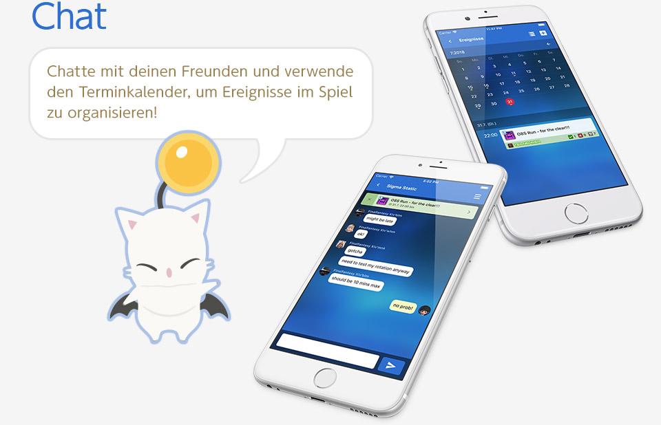 Chat Chatte mit deinen Freunden und verwende den Terminkalender, um Ereignisse im Spiel zu organisieren!