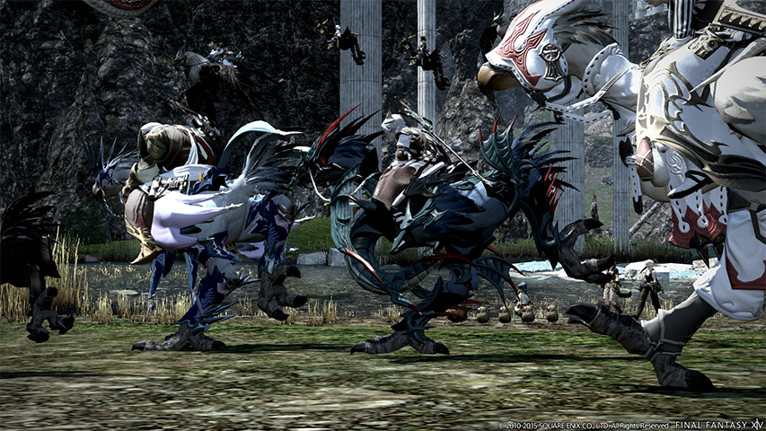 A party in FFXIV mounted on their chocobos, charging into battle