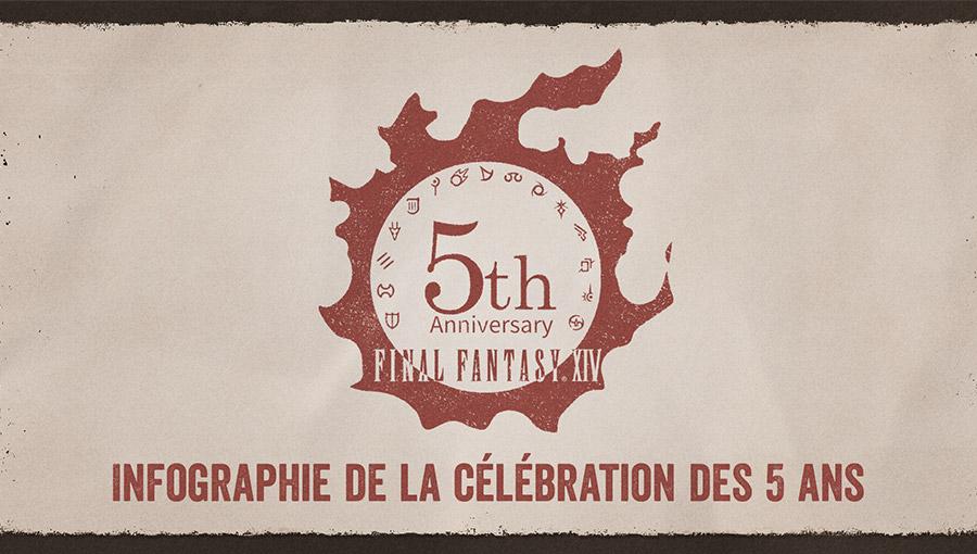 Infographie de la célébration des 5 ans de FINAL FANTASY XIV