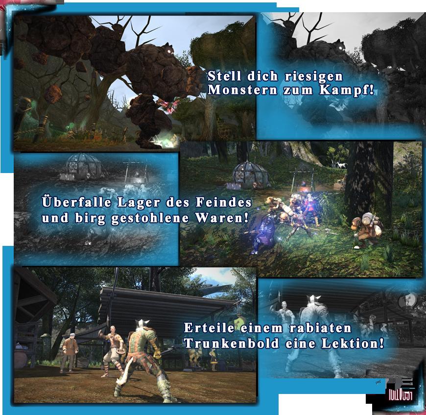 Stell dich riesigen Monstern zum Kampf! Überfalle Lager des Feindes und birg gestohlene Waren! Erteile einem rabiaten Trunkenbold eine Lektion!