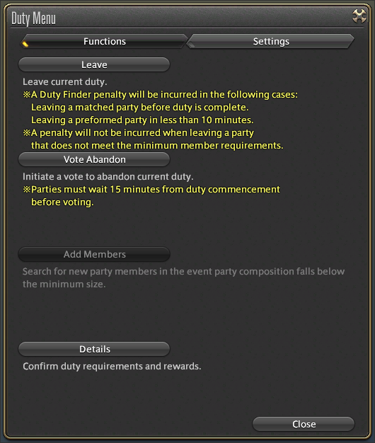 Under This Tab Players Can Use The Leave Vote Abandon And Add Members Commands As Well View Duty Requirements Rewards For Their